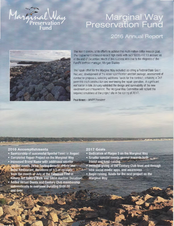 Cover of the 2016 Marginal Way Fund Annual Report