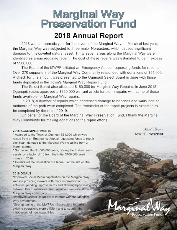 Image of Marginal Way Preservation Fund 2018 Annual Report